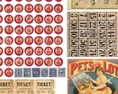 0.5in VINTAGE BINGO NUMBERS and letters for altered art cufflinks jewelry  scrapbooking etc Magentabelle printable download 101