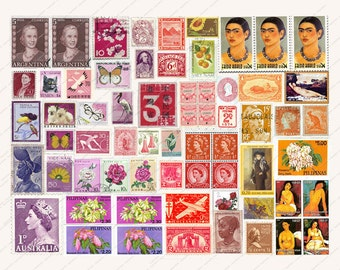 POSTAGE STAMP SHEET for backgrounds scrapbooking greetings cards collage decoupage etc MagentaBelle digital collage 15