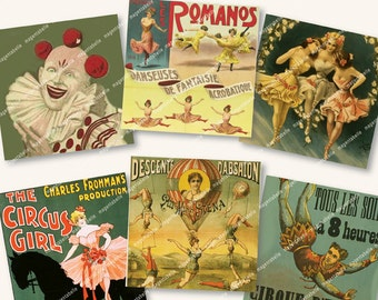 2in CIRCUS, DANCERS, TRAPEZE squares vintage circus posters for papercrafts gift tags etc   MagentaBelle digital collage sheet 72