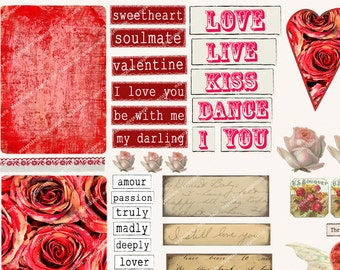 ROMANTIC WORDS ACEO backgrounds,vintage roses, hearts valentines weddings engagement MagentaBelle  80