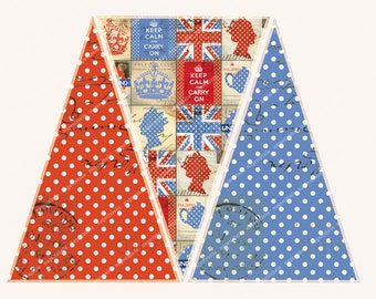 BRITISH BUNTING DOWNLOAD Keep Calm The Queen Teapots  vintage British printable  MagentaBelle digital collage sheet 107