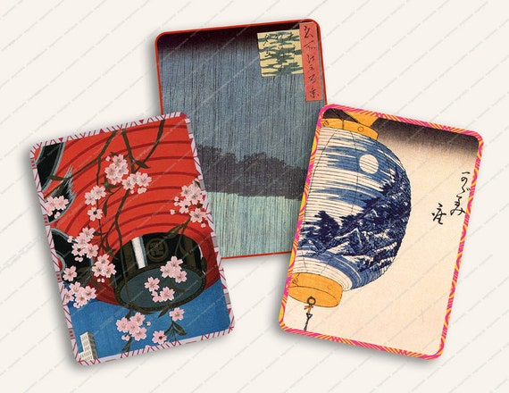VINTAGE JAPANESE BACKGROUNDS aceo 2.5x3.5in tag hangtag printable download cardmaking altered art MagentaBelle no. 25