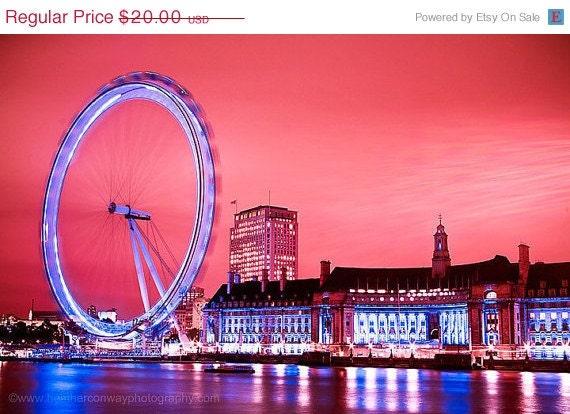 70% CLEARANCE The London Eye at night - wall decor - Fine Art Photography