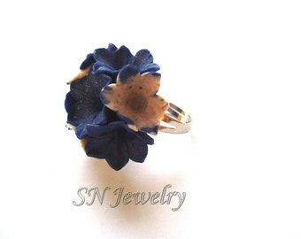 Flower Ring. Blue Flower Ring. Polymer Clay Bouquet. Deep Blue. Garden Party Floral Ring