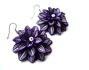 Purple Flower Earrings. Deep Purple Earrings. Polymer Clay Flower Earrings. Large Flower Dangles.  Handcrafted Jewelry