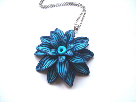 Large Flower Necklace. Blue Flower Pendant. Polymer Clay Handcrafted Flower.