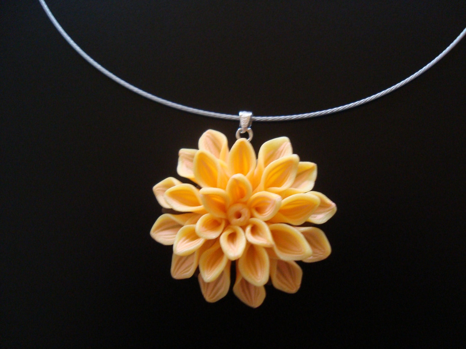 large flower necklace yellow flower pendant yellow flower