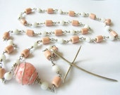 myParade PASTEL ROSARY handmade of pale pink ceramic and white glass beads