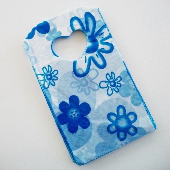 SALE Small Flat Bags Blue Flowers 25 STR152