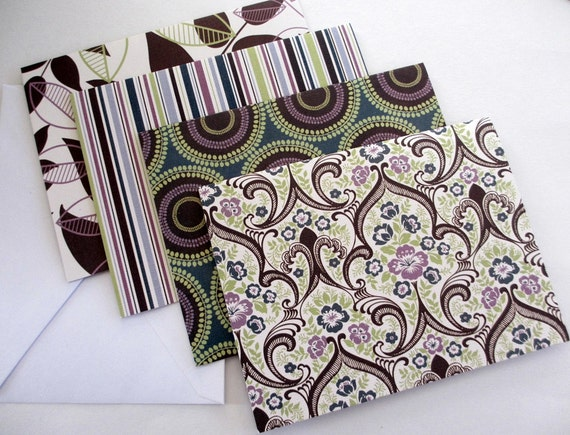 SALE Printed Textured Cards with Envelopes A2 Green Purple Set of 4 STR243