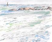 Sailboat ocean rocks, original watercolor landscape framed painting 10.5x12.5