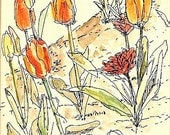 Red and orange tulips, original matted, framed watercolor flower painting 9x12