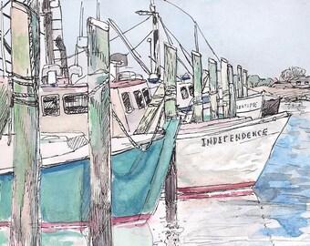 Fine art print glicee, 8x10 of landscape painting of Galilee Fishing Boats, Rhode Island