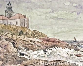 Jamestown Lighthouse, sailboat sea landscape signed Wall Decor Fine art print, 8.5x11 Scenic Rhode Island New England Blue Ocean Rough Waves