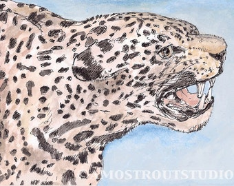 Jaguar, fine art watercolor painting wall art decor room archival PRINT signed giclee art print, 8.5x11 tan spotted brown