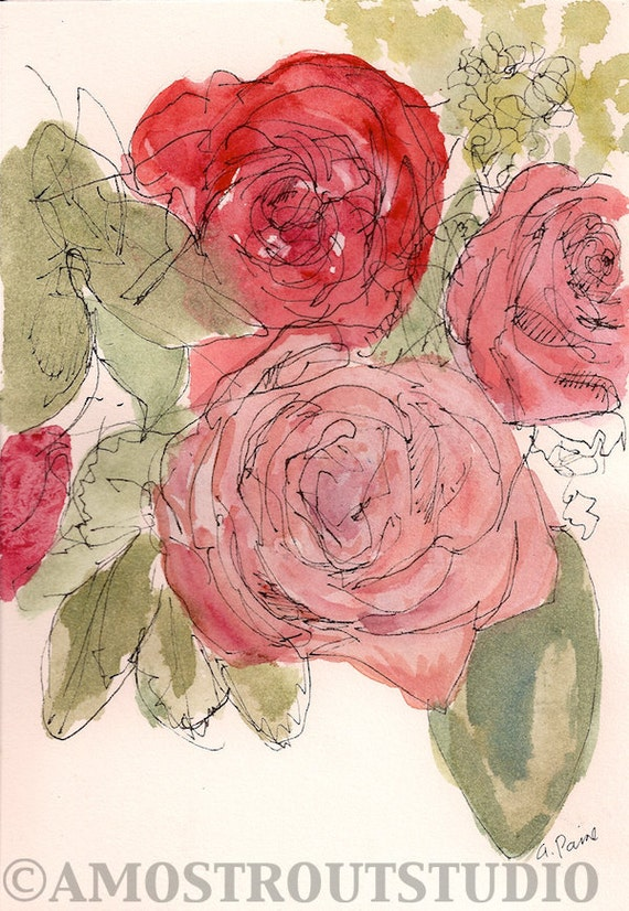 Pink and red roses bouquet. Original fine art  framed watercolor painting, 9x11