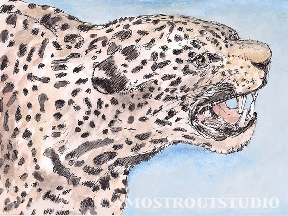 Original matted, framed watercolor gouache painting of jaguar  9.5x 11.5