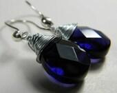 Dark Indigo Crystal Wire-Wrapped Teardrop Earrings on Bright Steling Silver Teardrop Ear Wires