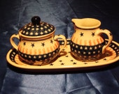 Poland Pottery Sugar Bowl, Creamer and Tray Stars and Stripes
