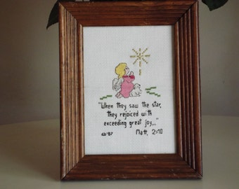 Beautiful  Cross Stitch Religious Theme Framed and Under Glass