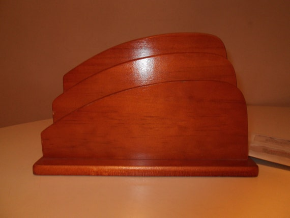 VTG Deco Style Mid-Century Maple Letter Holder