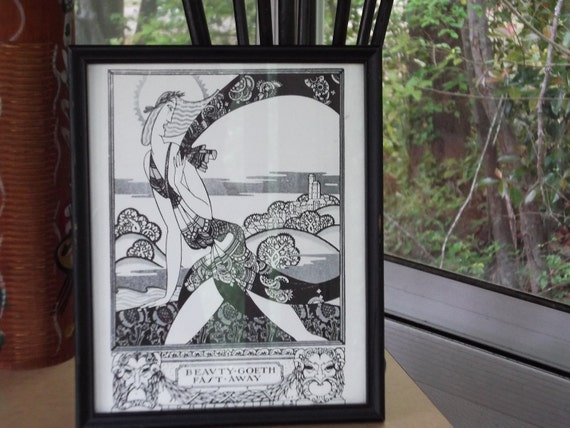 Beautiful Black and White Print. Art Nouveau/Art Deco.John Austin 1923. Beauty Goeth Fast Away.