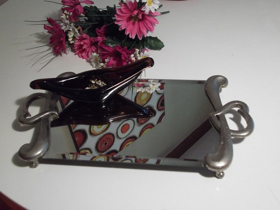 Godinger Silver Plate Heart Vanity Tray with Bevelled Mirror