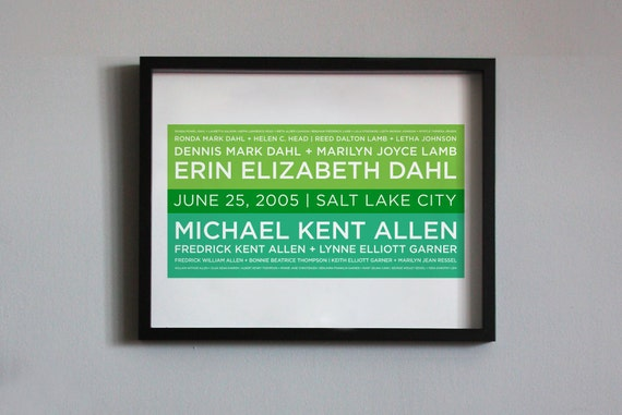 """Family Tree - 4 Generation Converge Design - 16""""x20"""" print custom made with your genealogy, wedding date & location"""