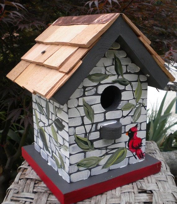 Cardinal and vines hand painted bird house by ckdoriginals - Bird house painting ideas ...