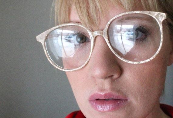 Vintage Champagne Shimmer Snake Skin Oversized Eyeglass Frames