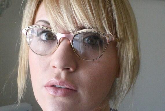 Vintage 50's Pink & Gold 12K Gaspari Aluminum Cat Eye Eyeglasses