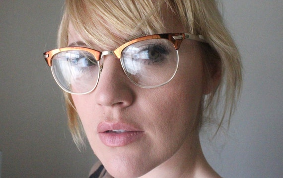 Vintage 50's 12K Unisex Copper Aluminum Cat Eye Eyeglasses