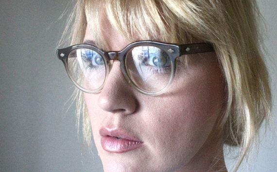 Vintage 50's Unisex Coffee Fade Windsor Cat Eye Eyeglasses Frames