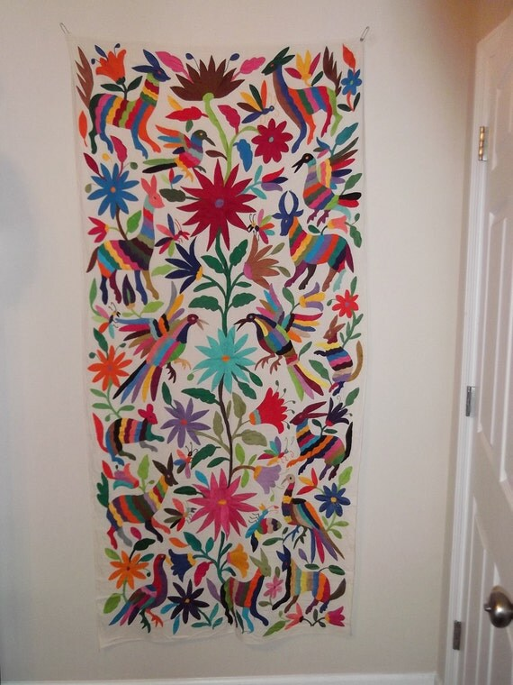 Hand Embroidered Otomi Textile from Puebla, Mexico
