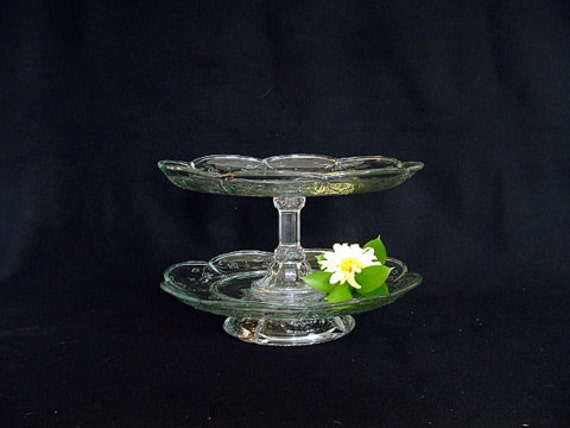 "Food display stand made with repurposed glass.  Cupcake display stand.  Vintage cupcake plate. ""The Diana"" is upcycled glass.."