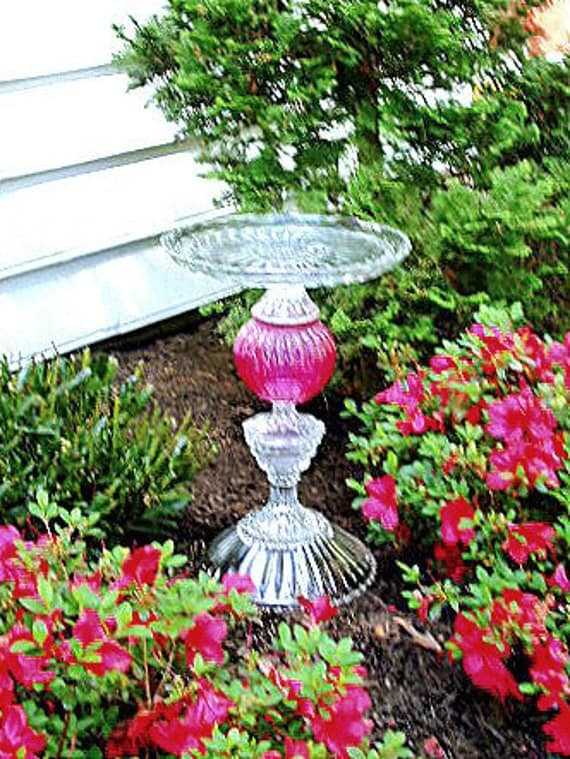 """Majestic bird bath """"The Olympia"""" is made from repurposed and vintage glass. Garden art. Upcycled art."""