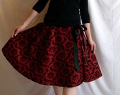 Red Taffeta Skirt with Satin Drawstring