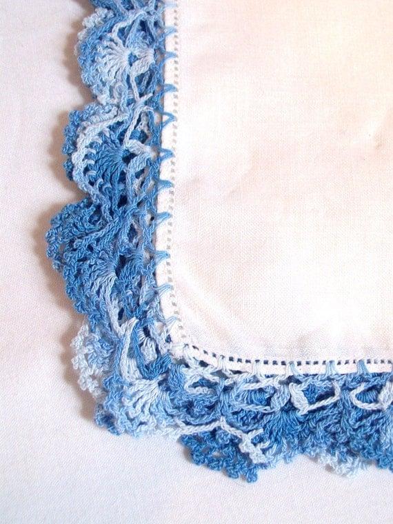 Vintage blue trim hankie