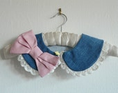 Denim frill collar