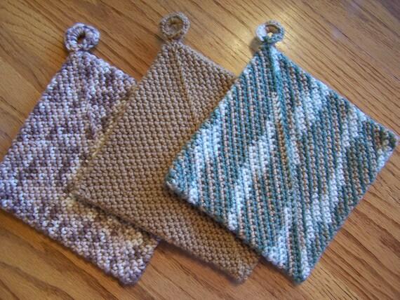 Crochet Multi color Potholders--Set of 3