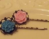 vintage style girls flower pink & blue/antique bronze hair pins
