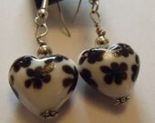 white and black silver heart earrings