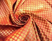 Rust Silk Brocade Fabric With Golden Dots Fat Quarter India