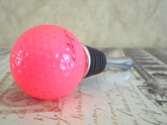 Wine Bottle Stopper - Hot Pink Golf Ball Wine Stopper
