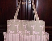 Pink/Putty BABY GIRL DIAPERBAG Sweet Giraffe Zig Zag