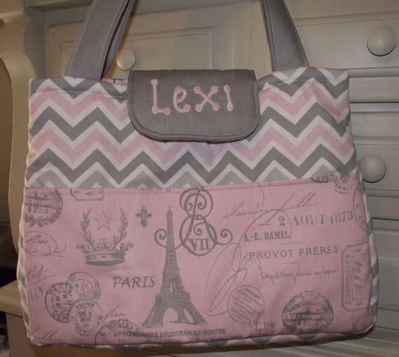 FRENCHY  Baby Girl Soft Pink and Gray PARIS SCRIPT Diaper Bag
