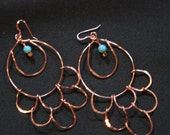 Copper & Swarovski Turquoise Earrings