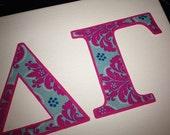 Greek Sorority Delta Gamma DG Iron On NO SEW double layer fabric Letters Applique