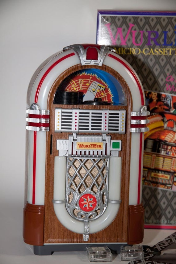 coin operated wurlitzer micro cassette jukebox in original box. Black Bedroom Furniture Sets. Home Design Ideas