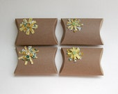 FREE SHIPPING pillow box, pastel, yellow green blossoms, brown, babyshower table decor or hostess gift- set of 4